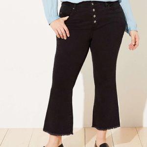 LOFT Plus High Waist Flare Crop Jeans Black Wash